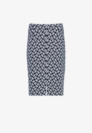 CHAIN JACQ - Pencil skirt - navy