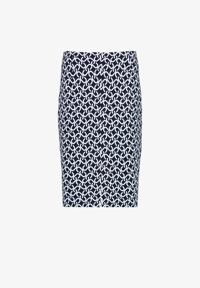 CHAIN JACQ - Pencil skirt - navy