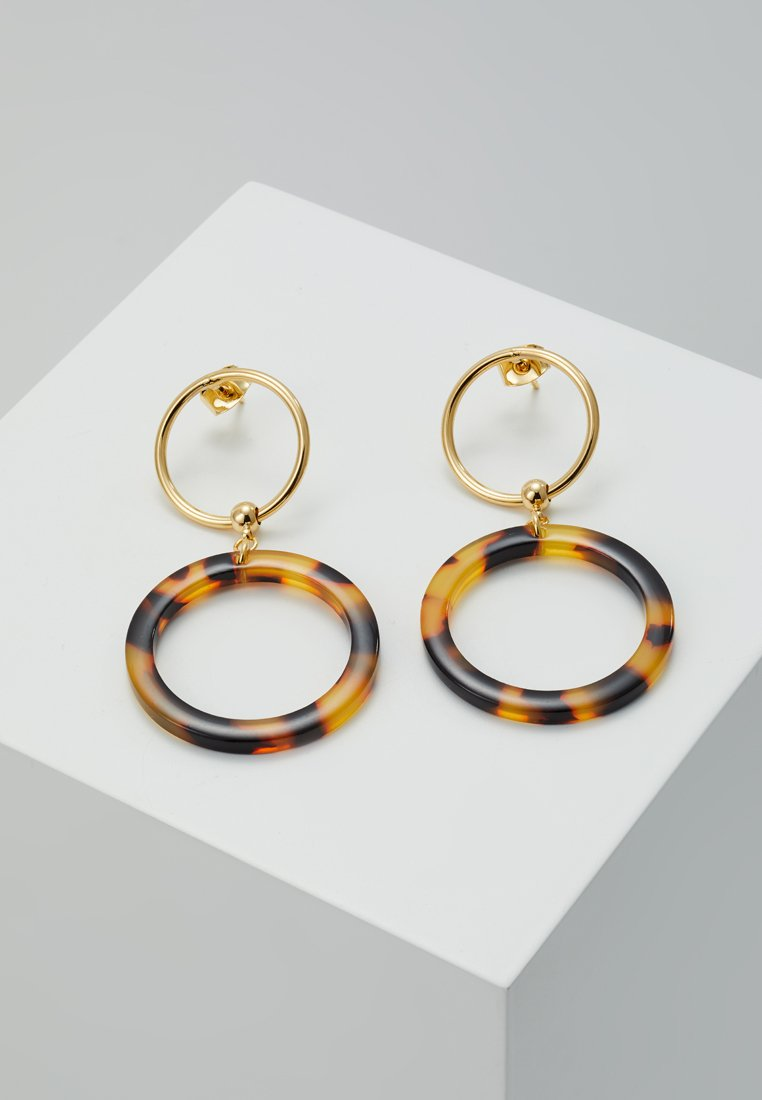 cloverpost - BARREL EARRINGS - Ohrringe - tortoise/yellow gold-coloured