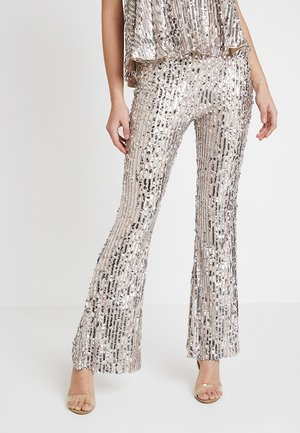 STRIPE SEQUIN KICK FLARE TROUSERS - Pantalon classique - silver