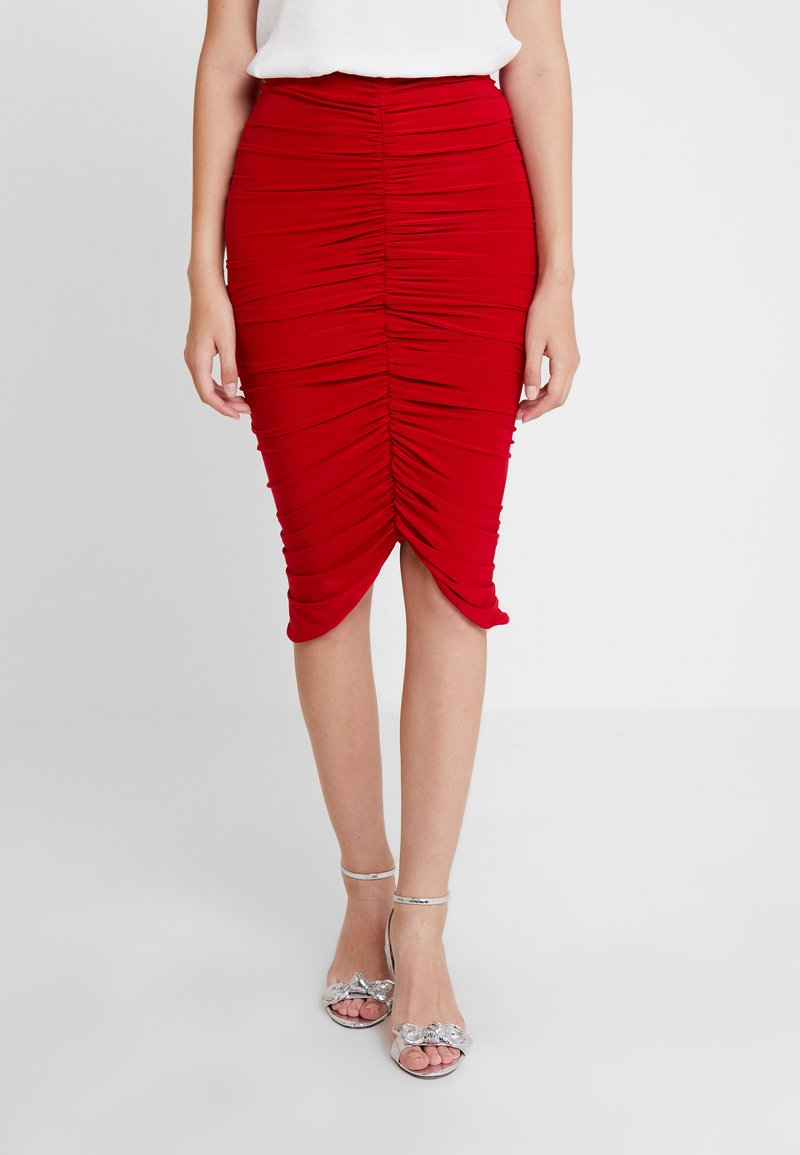Club L London - RUCHED MIDI SKIRT - Blyantnederdel / pencil skirts - red