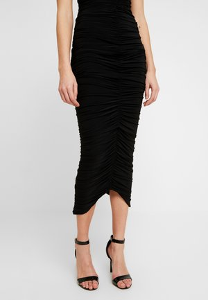RUCHED FRONT MIDAXI SKIRT - Pennkjol - black
