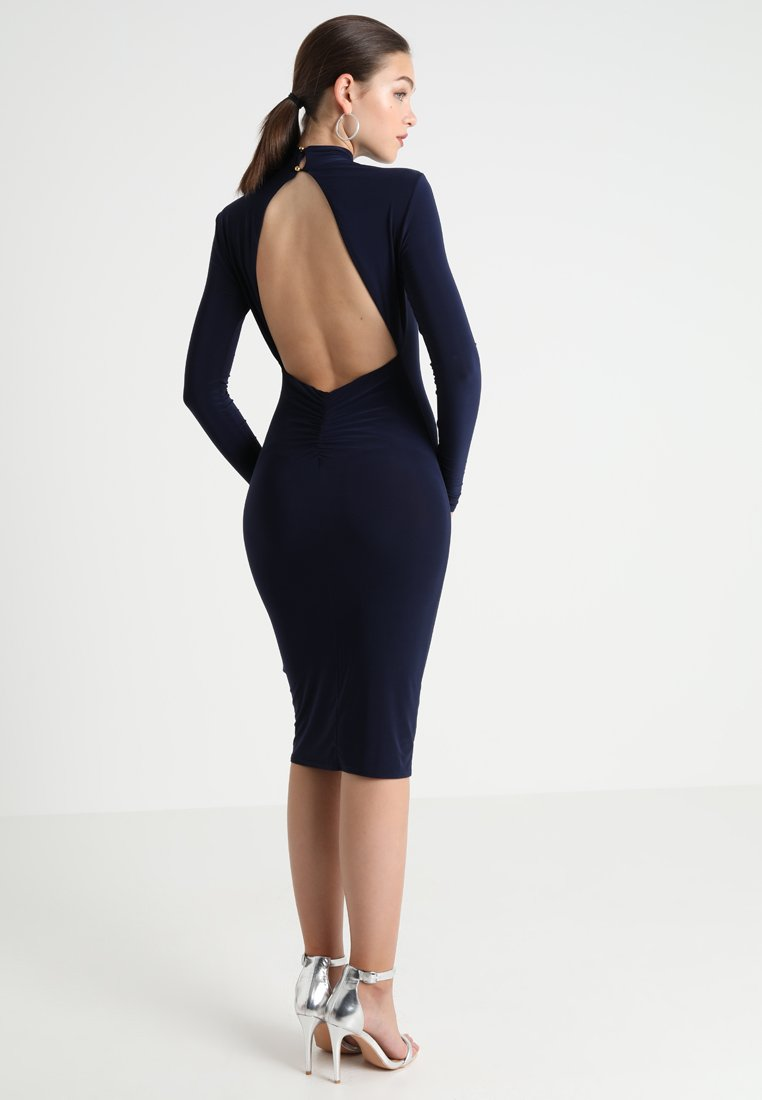 Club L London - OPEN BACK RUCHED LONG SLEEVE BODYCON DRESS - Etui-jurk - navy