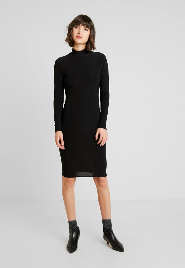 OPEN BACK RUCHED LONG SLEEVE BODYCON DRESS - Pouzdrové šaty - black
