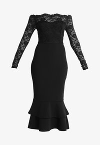 Club L London - EYELASH BARDOT DIP HEM DRESS - Iltapuku - black - 5