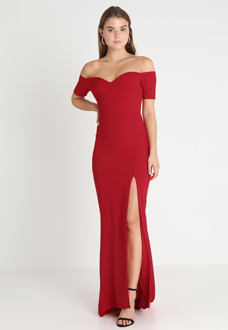 Club L London - BARDOT MAXI DRESS WITH THIGH SPLIT - Ballkjole - red
