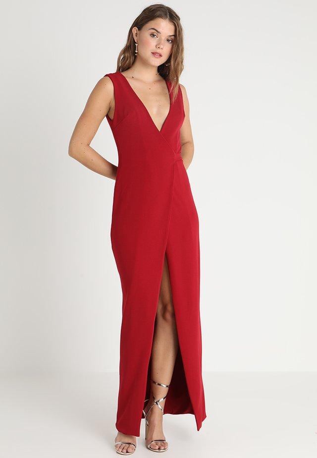 TAILORED WRAP MAXI DRESS - Gallakjole - dark red