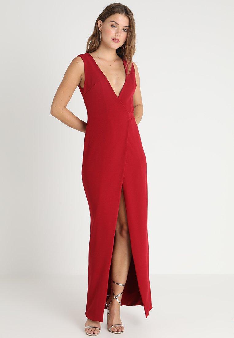Club L London - TAILORED WRAP MAXI DRESS - Abito da sera - dark red