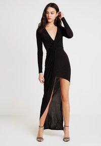 Club L London - SLINKY KNOT ASSYMETRIC DRESS - Maxi dress - black - 1