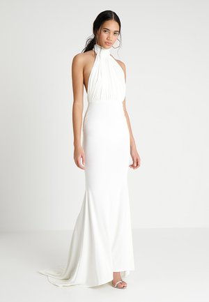 HALTER NECK RUCHED DETAIL FISHTAIL MAXI DRESS - Iltapuku - white