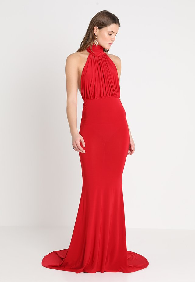 HALTER NECK RUCHED DETAIL FISHTAIL MAXI DRESS - Vestido de fiesta - red