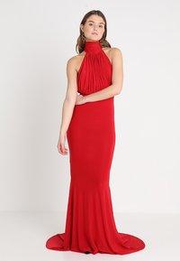Club L London - HALTER NECK RUCHED DETAIL FISHTAIL MAXI DRESS - Společenské šaty - red - 1