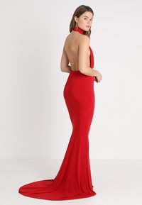 Club L London - HALTER NECK RUCHED DETAIL FISHTAIL MAXI DRESS - Galajurk - red - 2