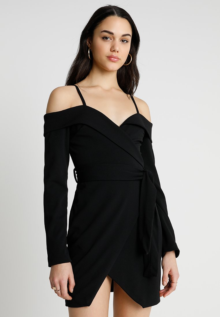 Club L London - BARDOT CREPE DETAIL DRESS - Jersey dress - black