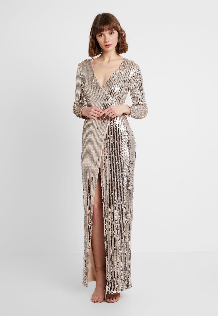 Club L London - WRAP FRONT ASSYMETRIC STRIPE SEQUIN DRESS - Robe de soirée - silver