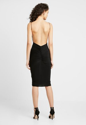 RUCHED MIDI DRESS - Kotelomekko - black