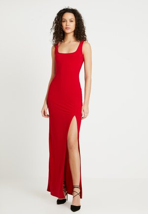 SQUARE NECK THIGH SPLIT DRESS - Maksimekko - red