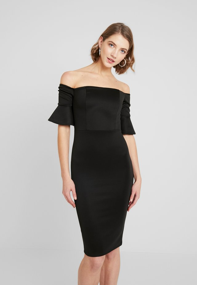 BARDOT FLUTED SLEEVE DRESS - Robe fourreau - black