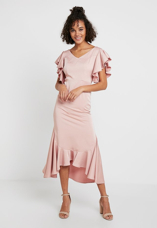 RUFFLE MIDI DRESS - Cocktail dress / Party dress - dusky pink