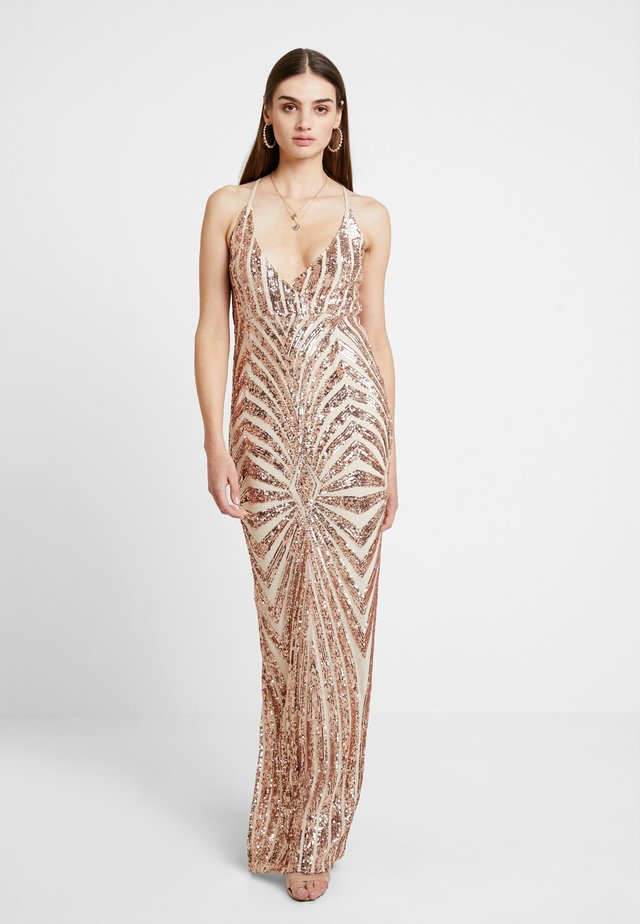 STRAPPY LOW BACK STRIPE SEQUIN MAXI DRESS - Gallakjole - rose gold