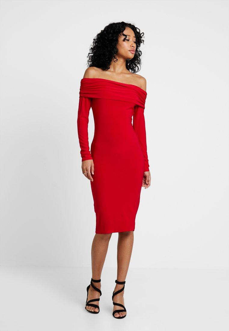 Club L London - BARDOT MIDI DRESS - Vestido de tubo - red