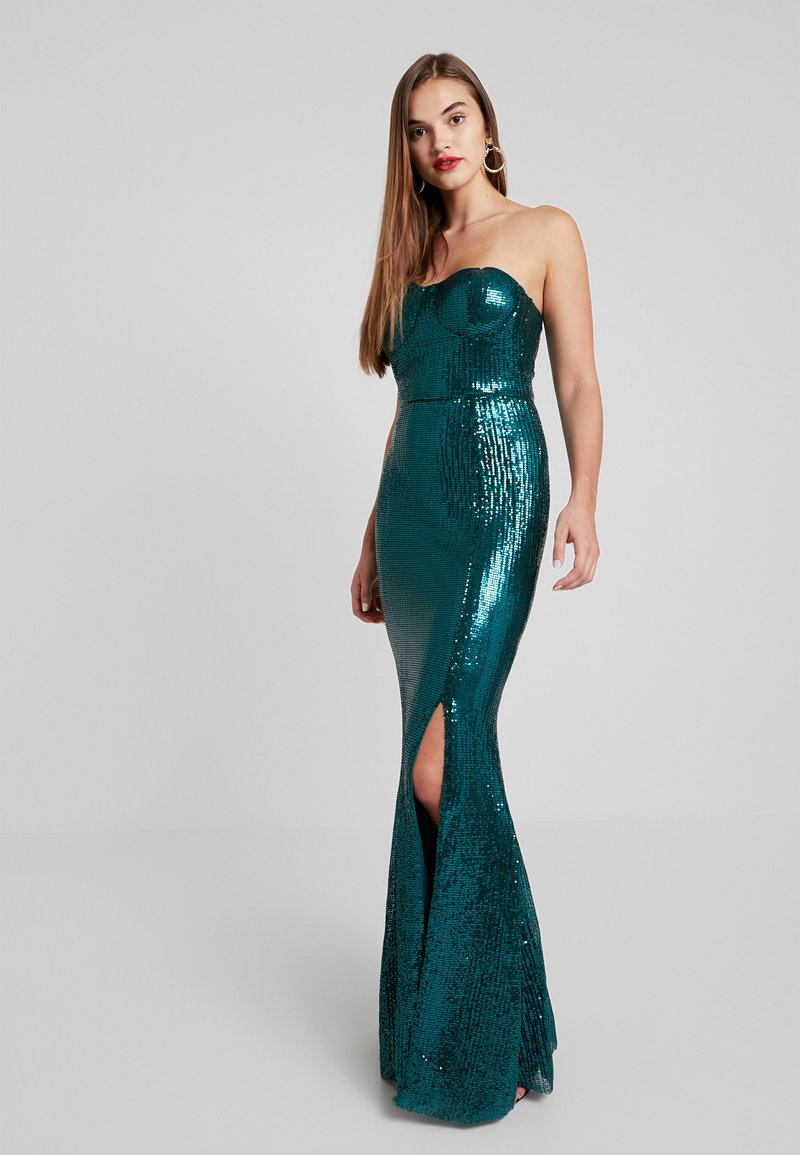 Club L London - SEQUIN BAROQUE BANDEAU FISHTAIL MAXI DRESS - Ballkleid - green