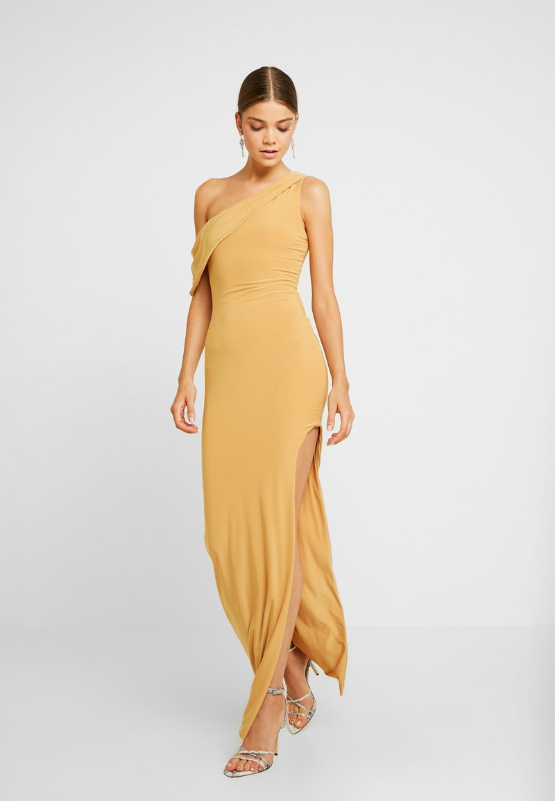 Club L London - ONE SHOULDER DRAPE THIGH SPLIT MAXI DRESS - Vestido de fiesta - yellow