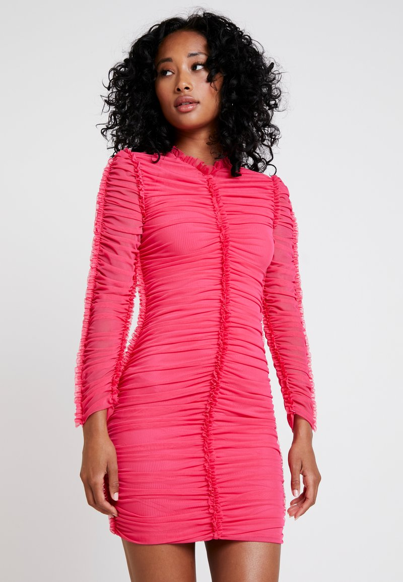 Club L London - HIGH NECK RUCHED MINI DRESS - Etuikleid - hot pink
