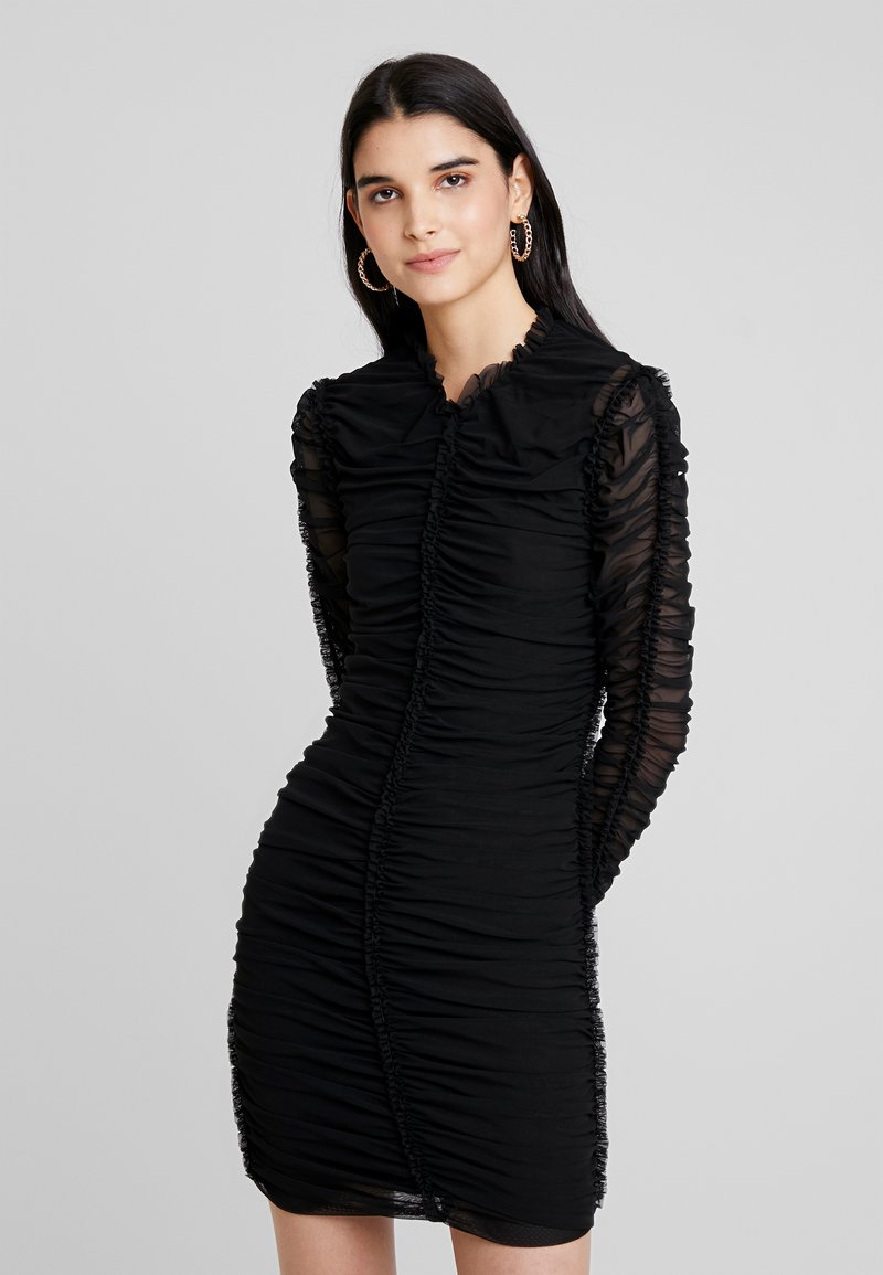 Club L London - HIGH NECK RUCHED MINI DRESS - Vestido de tubo - black