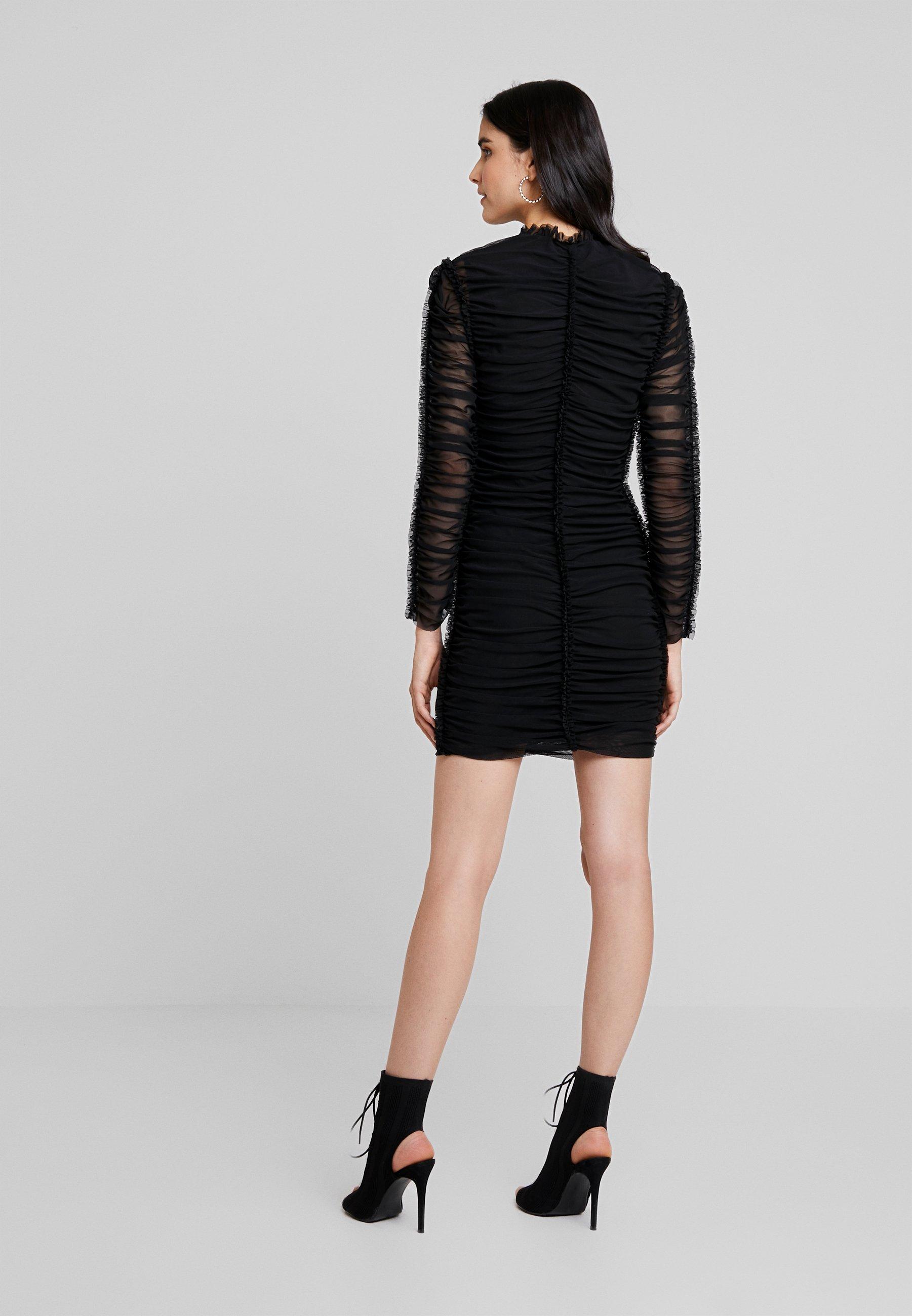London Black Club Neck Ruched Fourreau L DressRobe High Mini 8nOXP0wk