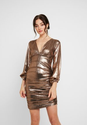 PLUNGE RUCHED DRESS - Cocktailjurk - bronze
