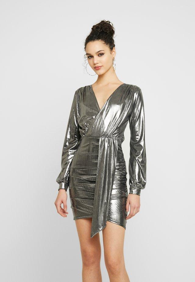 DRAPE FRONT MINI DRESS - Cocktail dress / Party dress - grey