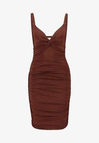 Club L London - CAMI TWIST KNOT RUCHED MINI DRESS - Jerseykjole - chocolate - 3