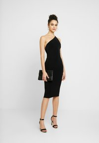 Club L London - ONE SHOULDER RUCHED BUM MIDI DRESS - Cocktailkjole - black - 2