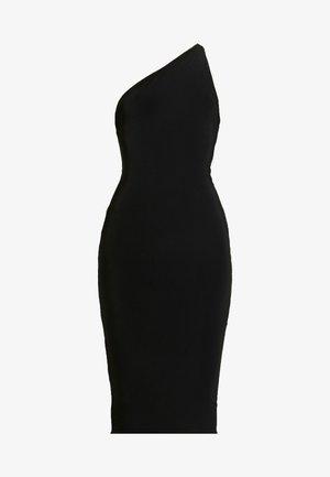 ONE SHOULDER RUCHED BUM MIDI DRESS - Robe de soirée - black