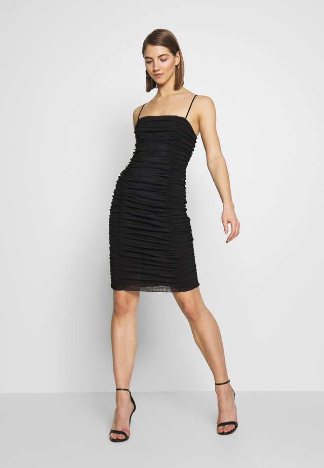 CAMI RUCHED MIDI DRESS - Vestido de cóctel - black