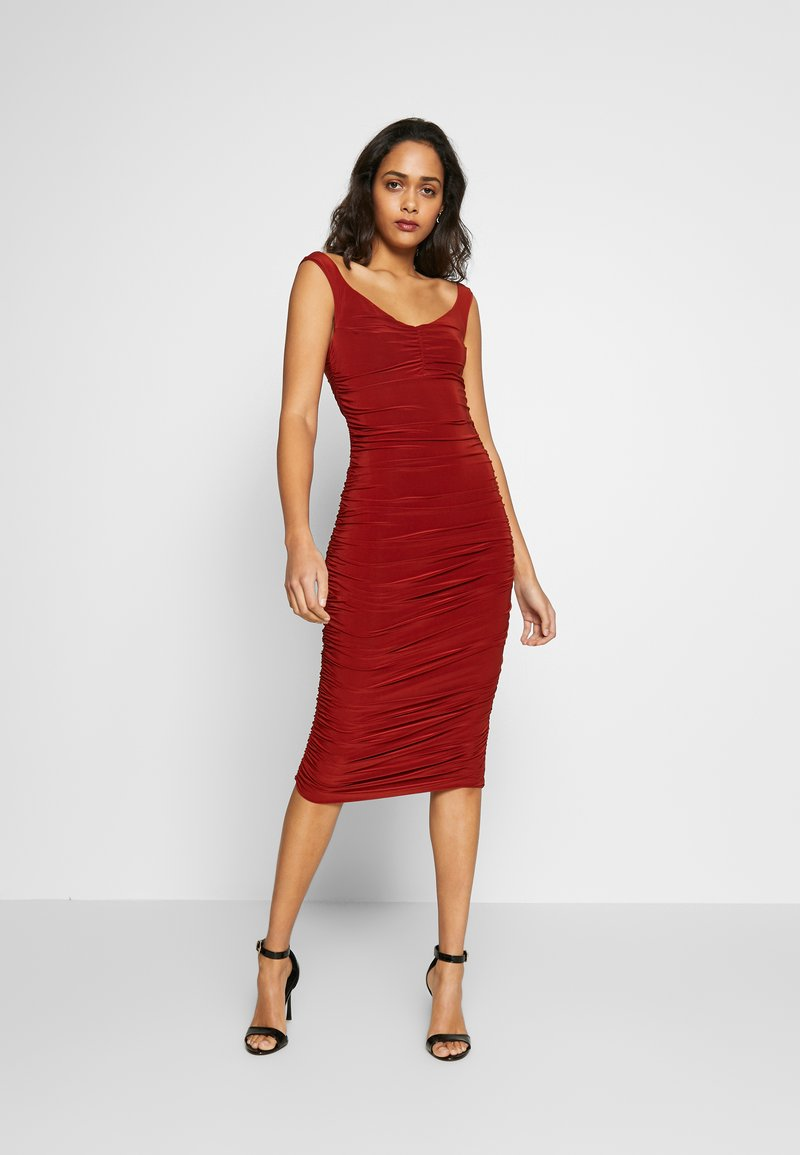 Club L London - BARDOT RUCHED DRESS - Cocktail dress / Party dress - rust