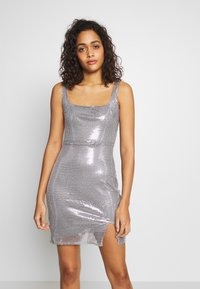Club L London - SEQUIN NECK MINI DRESS - Vestido de cóctel - grey - 0