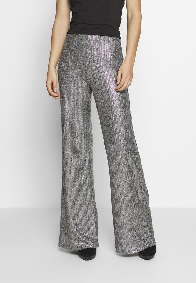 TEXTURED SPARKLE HIGH WAIST TROUSERS - Kangashousut - silver