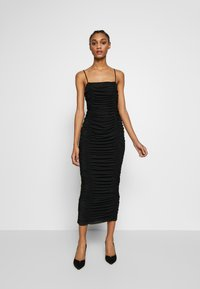 Club L London - CAMI RUCHED DRESS - Galajurk - black - 0
