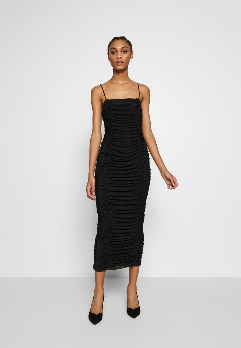 Club L London - CAMI RUCHED DRESS - Galajurk - black