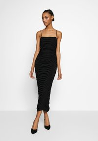 Club L London - CAMI RUCHED DRESS - Galajurk - black - 1