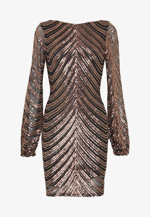 SEQUIN BALLOON SLEEVE MINI DRESS - Juhlamekko - gold