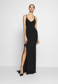 Club L London - DOUBLE STRAP CROSS BACK FISHTAIL MAXI DRESS - Iltapuku - black