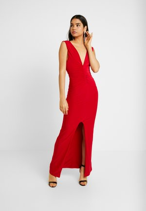 BACKLESS RUCHED FRONT SPLIT MAXI DRESS - Společenské šaty - red