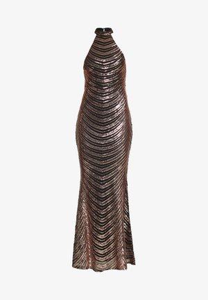 SEQUIN HIGH NECK FISHTAIL MAXI DRESS - Společenské šaty - gold