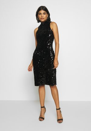 SEQUIN HIGH NECK MIDI DRESS - Juhlamekko - black