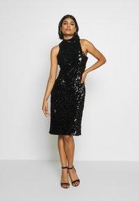 Club L London - SEQUIN HIGH NECK MIDI DRESS - Vestido de cóctel - black - 1