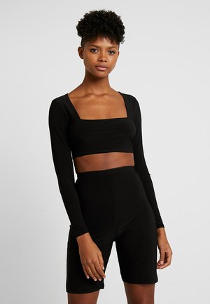 SQUARE NECK LONG SLEEVE - Top s dlouhým rukávem - black