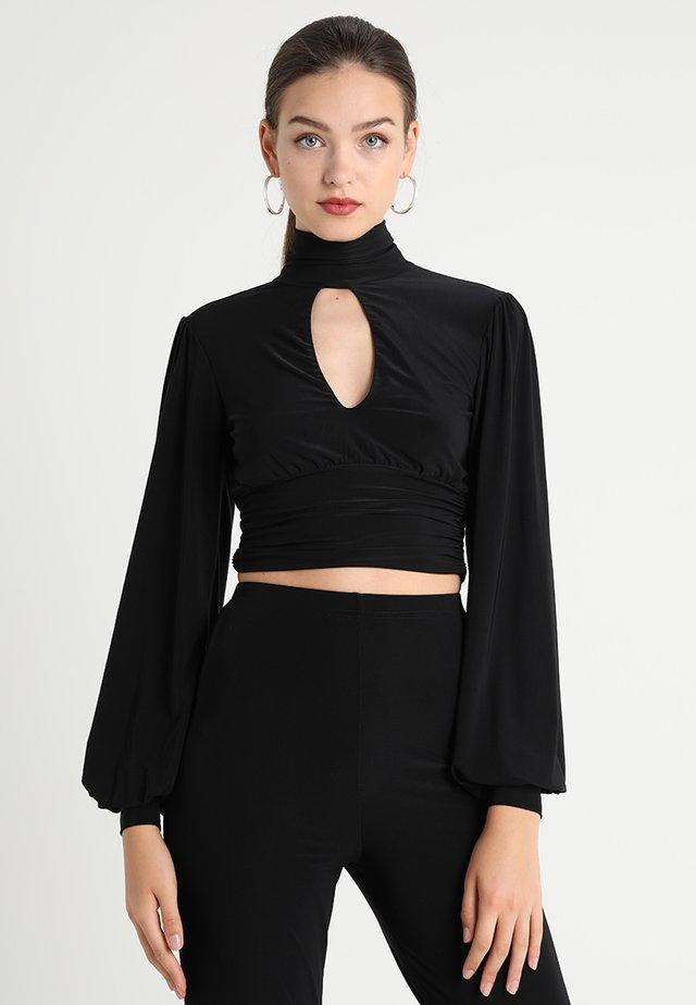 SLINKY TIE BACK HIGH NECK  - Bluzka z długim rękawem - black